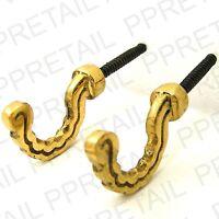 4x Curtain Tie Back Ball End Hooks ~POLISHED BRASS~ Screw In Metal Tassel Holder