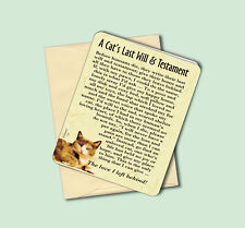 """""""A Cat's Last Will & Testament"""" - Cat Greeting Card - Blank Inside - Sku# 714"""