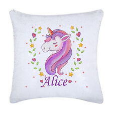 Unicorn Sequin magic Cushion, custom with a name, Gift ideas, Christmas gifts
