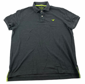 American Eagle Men's Cotton Classic Fit Short Sleeve Polo Shirt XL Gray Green