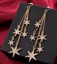 New Vintage Gold Star White Crystal  Long Chain Hook Dangle Statement Earrings