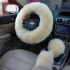 3pcs largo de invierno de felpa cubierta rueda de lana Handbrake coche Beige
