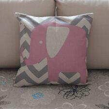 Pink Elephant Zig Zag Cotton Linen Throw Pillow Cushion Cover Home Decor Z378