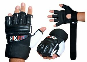 KIKFIT Leather MMA Martial Arts Gloves Training Boxing Body Combat Punch Bag UFC