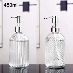 450ml Lotion Liquid Soap Dispenser Bathroom Kitchen Sink Accessory Glass Vintage