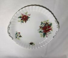 Royal Albert POINSETTIA Handled Cake Plate Christmas Serving Platter Mint