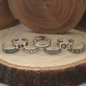 7Pcs Toe Rings Set Adjustable Knuckle Finger Foot Knot Joint Ring Vintage AU