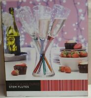 Set of 6 Coloured Stem Champagne Flutes Unused Boxed 33cm Tall