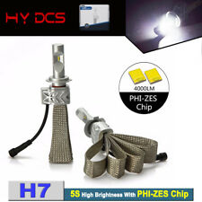 2x H7 Car LED Headlight Fanless with PhI-ZES Chips 44W 8000LM Front Bulbs Lamp