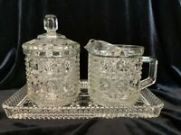 Vintage Crystal Glass Windsor Pattern Creamer Sugar with Lid and Matching Tray