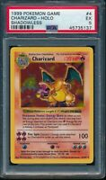 PSA 5 CHARIZARD 1999 Pokemon Base Unlimited SHADOWLESS #4/102 Holo Rare EX