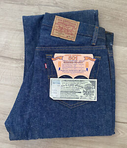 Vintage NWT LEVIS 501 Shrink to Fit Button Fly Jeans USA 35x33 NOS Deadstock