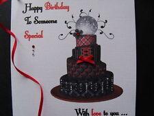 Handmade Personalised Birthday Card - Black & Red Gothic/Steampunk Cake, Gem