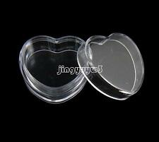 Plastic Heart Mini Empty Box For Nail Art Rhinestone Gems Powder Storage Case