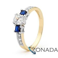 Royal Sapphire & Simulated 9k 9ct Solid Yellow Gold Solitaire Ring Size P 7.75