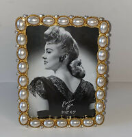 "New FreeStanding Photo Frame 3.5"" X 5"" Elegant  Gold Covers With Pearls & Stones"