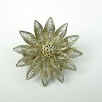 Small Vintage Silver Brooch Pin Filigree Flower C Clasp