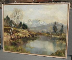 Josef Burger, Original-Ölgemälde Oberbayrische Landschaft an der Loisach.