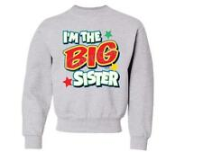 I'M The Big Sister With Green KIDS CREW NECK  SWEATSHIRT SIZE 6-8=SM To 18-20=XL