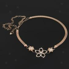 Chic Crystal Flower Belts for Women Gold Skinny Hip Waist Belt for Dress