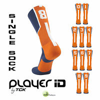 TCK® Player ID Elite Number Sock, Navy/Orange/White - (0-9) - (Buy 2 for a pair)