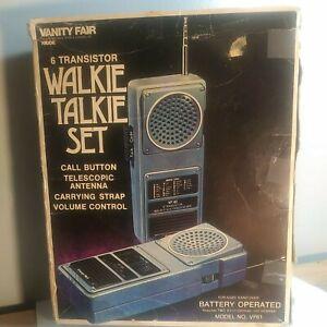 Vintage Walkie Talkie set 6 Transistor vanity fair call button hand strap code