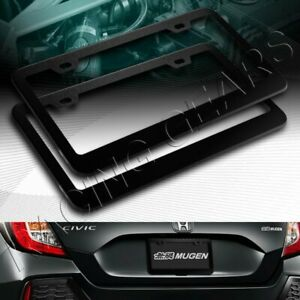 2 X CAR AUTO METAL LICENSE PLATE FRAME HOLDER BLACK ALUMINUM ALLOY FRONT & REAR