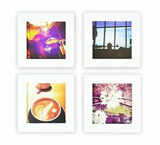 Instagram Frames Collection, Set of 4, 4x4-inch Square Photo Wood Frames, White