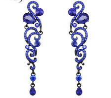 VINTAGE INSPIRED SAPPHIRE BLUE CUBIC ZIRCONIA LONG DANGLE STATEMENT EARRINGS