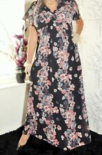 floral navy blue semi sheer evening long  maxi dress uk  size 16