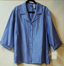 Emma james Size 20W Blue Shirt Blouse Button Down 3/4 Sleeve 100% Silk Career