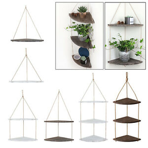 Wood Hanging Corner Shelves Holder w/ Hook Indoor Kitchen Decoration Gifts