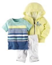 Carter's 3-Piece Local Cutie Hoodie Striped Shirt & White Pant Baby Boy 3 Months