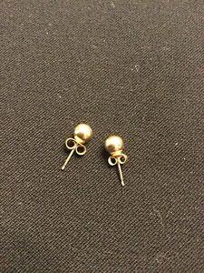 14K Yellow Gold Ball Earrings Women's Classic Fashion Jewelry