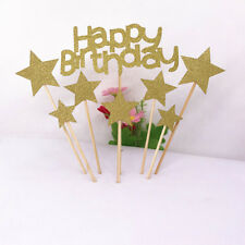 Happy Birthday Star Cake Topper Anniversary Birthday Party Cake Favor Decoration