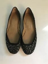 Valentino Black Flats With Crystals, Size 35 5