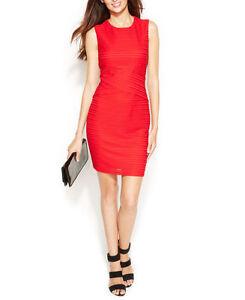 NEW Women's Sz 8 Calvin Klein Novelty Matte Jersey Dress Red CD4A24F1