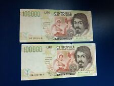 More details for lot 2 banknotes   italy - 100000 lire 1994 - xf different signatures