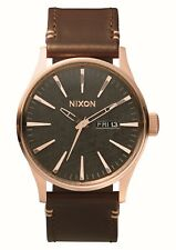 Nixon garita de piel reloj - Dorado/rosa/bronce / Marrón