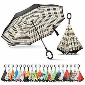 Inverted, Windproof, Reverse Umbrella with UV Beige Plaid Pattern and C Hangable