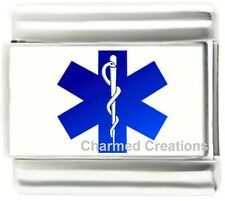 Medical Alert Blue Star Of Life Caduceus 9mm Italian Charm For Your ID Bracelet