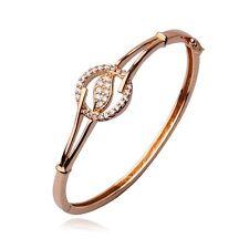 """9ct 9k Rose """"Gold Filled"""" Girls White Stones Openable Bangle Bracelet, 57mm,1007"""