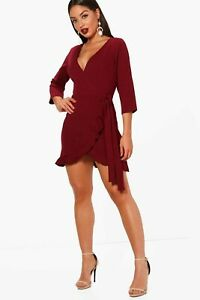 boohoo wrap dress UK 8 women's burgundy belted ruffle hem frill front ladies