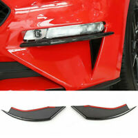 2Pcs Carbon Style Front Fog Light Eyebrow Cover Trim Fit For Ford Mustang 18-19
