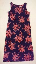 Womens STUDIO 1 PETITE Shift Dress 12 P Sleeveless Floral Long Black Pink Coral