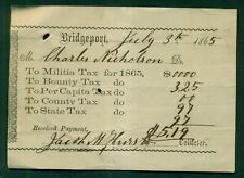 1865 Bridgeport,PA Tax Receipt with Militia Tax