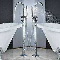 Bathroom Tub Faucet Waterfall Chrome Free Standing 2 Handle Tub Filler Mixer Tap