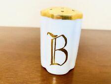 "Antique ""B� White Salt Shaker Gold Painted Top 2.5� & 1 5/8� Germany Ceramic"