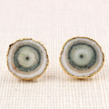 Real Light White Solar Quartz Yellow Gold Plated Stud Earrings Jewelry Supply