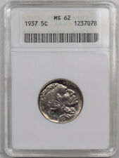 1937 BUFFALO NICKEL - ANACS MS-62